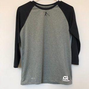 NIKE Kid's XL Gray & Black Baseball Dri-Fit Shirt
